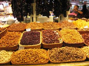 Nuts in marketplace in Spain